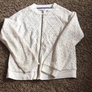 Girls size medium zip up jacket sweater